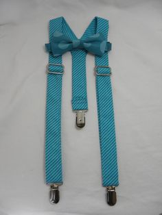 On Sale: Teal Bluel Striped Suspenders and by SweetestHappenings