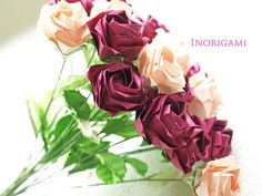 2 color R6 R12 Bouquet of 20 Fine Origami Roses by Inorigami
