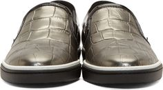 Pewter & Black Croc-Embossed Grove Slip-Ons : Jimmy Choo