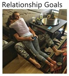 I'm going to lie down on my bf while he's playing video games. Let's see how long he can hold it all together. #relationshipgoal