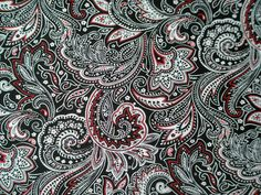 """Black & Red Paisley"""" fabric for nursing cover / breastfeeding cover ..."""