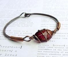Bracelet, dark pink and brown agate gemstone, fall bangle, wire wrapped copper jewelry