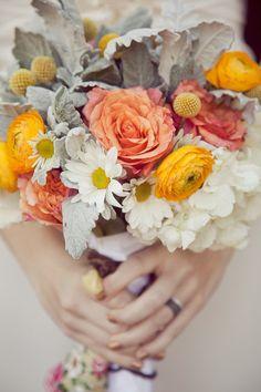 orange, yellow and white wedding bouquet