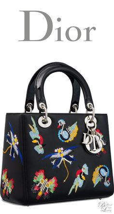 Brilliant Luxury * Dior Autumn 2016 ~ Lady Dior bag in black calfskin embroidered with animals inspired by Dior charms
