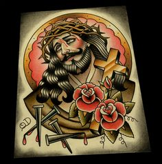 Classic Jesus Color Tattoo Flash by ParlorTattooPrints on Etsy