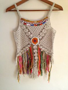 This top made of 100 % cotton fabric is stretch, decorate with vintage jewelry. in the front is higher that the back about 1 inches, Measurements,