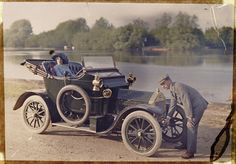 Young couple with motor car