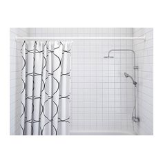 IKEA - UDDGRUND, Shower curtain, The elastic sewn into the bottom edge adds weight to the curtain and assures that it hangs straight.Densely-woven polyester fabric with water-repellent coating. Ikea Curtains, Ikea Curtain Rods, Small Bathroom Organization, Laundry Room Organization, Shower Curtain Rings, Decoration, Organizations, House Pics, White White
