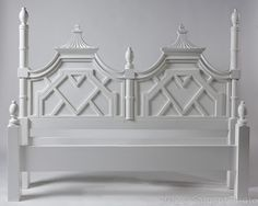 Absolutely beautiful pagoda style / Chinoiserie headboard |  EASY PIECES: PALM BEACH STYLE AT C. BELL | LFF Designs | www.facebook.com/LFFdesigns