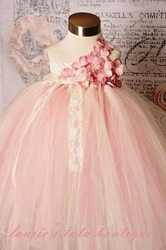 Vintage Rose- One Shoulder Couture Tutu Dress..... Flowergirl :)