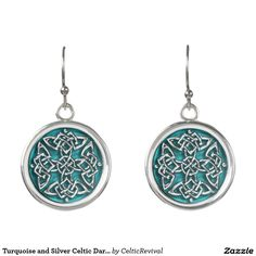 Turquoise and Silver #Celtic Dara Knot #Earrings  #zazzle