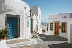 Houses in Chora (Town) of Patmos island, Dodecanese, Greece Greece, Europe, Island, Mansions, Street, House Styles, World, Saint John, Home