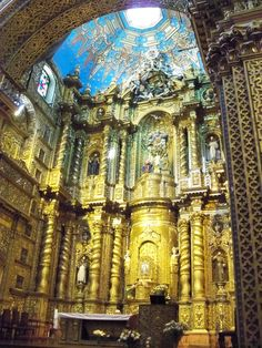Beautiful gold work in La compania church Quito, Ecuador