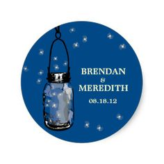 Mason Jars with fireflies Wedding Round Stickers