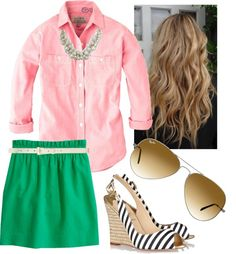 """""""Green Skirt with a White Woven Belt"""" by l-woke-up-near-the-sea ❤ liked on Polyvore"""