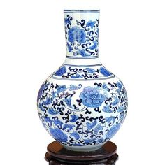 antique blue white porcelain vase