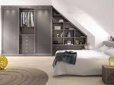 Placards sous pente - All Home Decors Attic Bedroom Designs, Attic Bedrooms, Attic Design, Closet Bedroom, Home Bedroom, Bedroom Decor, Interior Design, Loft Storage, Beautiful Houses Interior