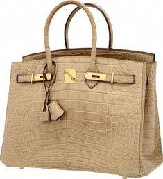 065262c8b3 Hermes 35cm Matte Poussiere Alligator Birkin Bag with GoldHardware.   Hermeshandbags Hermes Birkin