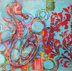 Graffiti Sea Horse  Original Mixed Media on Cradled Birch Panel-Sea Horse-fish art-art fish-shrimp painting-coastal art-beach-ocean