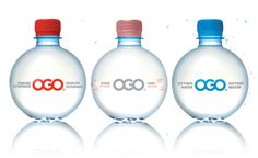 The circle water bottle, makes you want to take a drink! The colors are codes for each water for example the blue contrast is oxygen water. The shape holds the advertising very well, the colors are very simple. The Logo is very crisps, centered well and aligned in the center