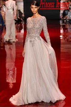 2014 New Berenice Marlohe Red Carpet Elie Saab Scoop Chiffon Sequined Sash Crystals Celebrity Dresses Evening With Long Sleeves $161.00