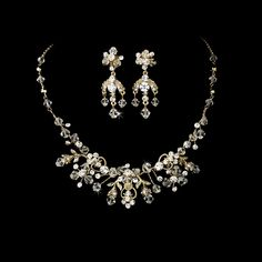 Gold Crystal Couture Jewelry Set NE-6317 Gold