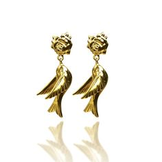 Swallow & flower studs-Gold Vermeil - Azuni.    So simple so sweet.