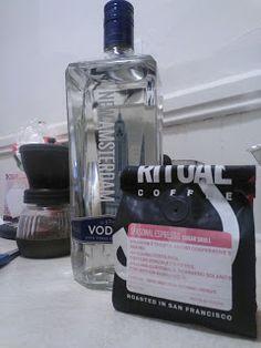 Homemade espresso vodka