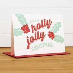 Christmas Card  HOLLY JOLLY Holiday Card Set of by SilhouetteBlue