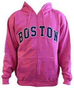 Boston Sports Adult Pink Zip Hoodie Sweatshirt-Support Boston sports no matter how girly you are with this pink sweatshirt #baseball