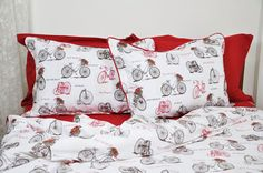 Old Bicycle Bedding Set in Sepia Brown and Burgundy by MyveraLinen