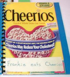 "Have students bring an empty box from their favorite cereal and make a class book titled, ""What's for Breakfast?"" Each page can say, ""(name) eats (cereal)"" ≈ ≈"