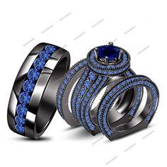 7.00CT Round Cut Sapphire 14K Black Gold Finish Engagement Wedding Trio Ring Set #Bacio2jewel