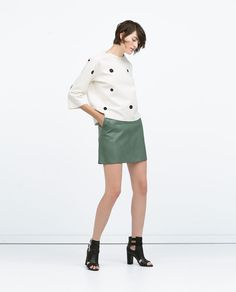 mini leather skirt, simple top; FLARED FAUX LEATHER SKIRT from Zara