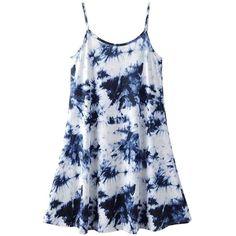 Tie Dye Swing Cami Dress (83 BRL) ❤ liked on Polyvore featuring dresses, tie dye dress, polyester camisole, tie dyed dresses, tie-dye dress and blue tie dye dress
