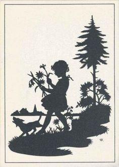 Silhouette-Enfants-c-1930-MINT-EX-artiste-Jessie-Gillespie-Fille-picking-fleur