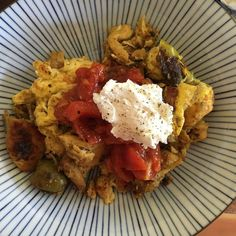 When life gives you leftover chicken tagine... you scramble it with eggs.