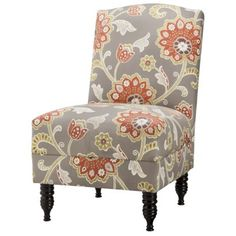 Pretty arm chair in #grey & #coral http://rstyle.me/n/hg5wdnyg6