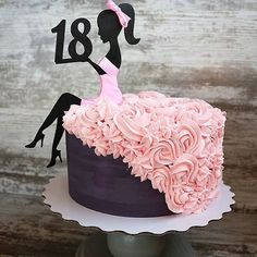 18th Birthday Cake For Girls, Sweet 16 Birthday Cake, Happy Birthday Cakes, Birthday Cake Toppers, Barbie Torte, Barbie Cake, Pretty Cakes, Beautiful Cakes, Amazing Cakes