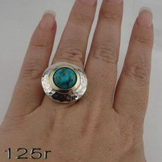 Silver & Gold Eilat stone Ring, (ms125) – Hadar Jewelry