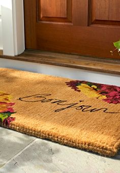 Bid adieu to dirt with our gorgeous flower-filled Autumn Bonjour Mat. Thousands of tightly woven coconut fibers efficiently scour mud and trap moisture so you can keep unsightly messes off your floor.