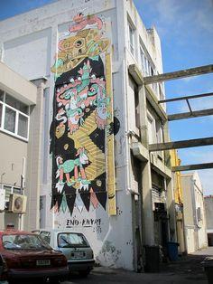 Artist : Knarf and Eno. Place : New Plymouth, New Zealand. Tags : street Art, graffiti, urban culture.