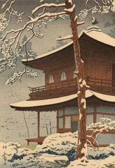 銀閣寺雪 [Snow at Ginkakuji Temple] - 浅野竹二 [Tasano Takeji] (1930)