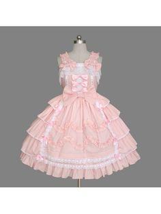 Pink Sleeveless Ruffles Bow Sweet #Lolita Dress, Lolita Dresses, Lolita