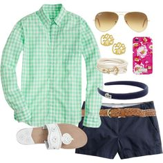 Gingham by classically-preppy on Polyvore featuring J.Crew, Jack Rogers, Ray-Ban, Lilly Pulitzer, Lacoste, Dorothy Perkins and Brooks Brothers