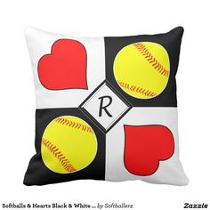 Softballs & Hearts Black & White Checker Monogram Throw Pillow! Personalize it with your own initial or jersey number! #softball #throwpillow #pillow #softballpillow #sports #zazzle #monogram #custom #fastpitch