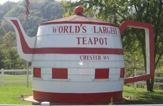 world's largest teapot in Chester, WV. according to history it started out as a giant root beer barrel as an ad for Hires.