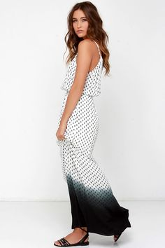 dip-dye black and white maxi dress for summer