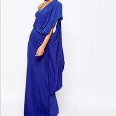 One shoulder draping maxi dress Regal cobalt blue maxi dress with draping on one shoulder. Dresses Maxi