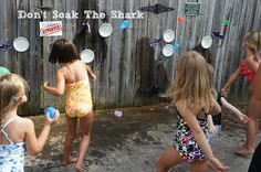 """The object is to identify the lowercase letter on the water balloon and then throw it at the plate with the matching uppercase letter, WITHOUT """"soaking the shark"""".    When someone accidentally gets the shark wet (instead of the plate), everyone yells, """"Don't Soak The Shark""""."""